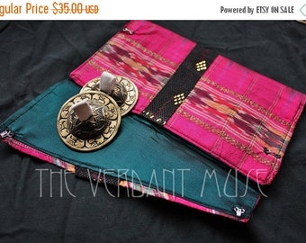 25% OFF Ikat Zil Bag- Hot Pink and Teal Vintage Silk and Assuit Tribal or Oriental Finger Cymbal Pouch
