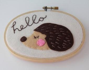 Hedgehog Wall Art - Felt Hoop Art - Meditating / Sleepy Hedgehog Art - Hello Sign