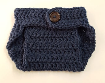 Crochet Baby Boy Baby Girl Diaper Cover, Photography Prop, Size Newborn and Infant – Cape Cod Blue