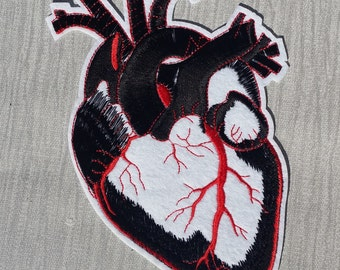 Large Black Anatomical Heart Embroidered Patch Applique Very Gothic Emo Punk