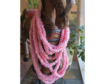 Scarf Necklace Peach Crochet Cowl