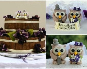 Custom wedding owl cake topper, winery and vineyard wedding, personalized love birds