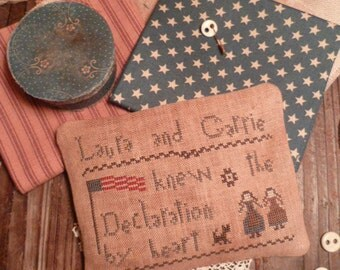 Primitive Cross Stitch  E- Pattern- PDF - JuLy 4th-Laura and Carrie knew the Declaration by Heart -The BLue Attic