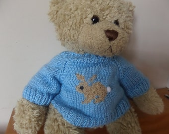 Teddy Bear Sweater - Hand knitted - Pale Blue Rabbit design