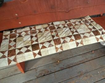 Batik Table Runner, Brown and Cream Table Runner, Quilted Table Runner, Reversible Table Runner Large