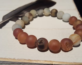 21 - 10MM Matte Amazonite & Peach Agate Geodes