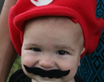 Mario Hat with mustache-Infant or Toddler