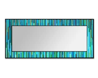Modern Wood Leaner Mirror Floor Mirror - Water Lily Reflection - Wood Wall Mirror in Blues and Greens- Reclaimed Wood Art -Abstract Wood Art