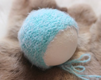 ready to ship, newborn photography prop, baby photo prop,  girl wool mohair blend reversible bonnet in frosted aqua blue, vintage style