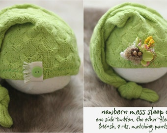 ready to ship, newborn photography prop, upcycled moss green hat with button on one side and clip, newborn baby boy prop, newborn sleep cap