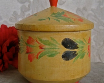 Wood Trinket Box Vintage Made in Russia Hand Painted Floral Mid Century 50s RUSSIAN LABEL Folk Art Shabby Chic Decor Stash Box with Lid
