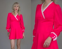 60s Mini Dress Neon Hot Pink Mod Button Sleeve Dolly Dress