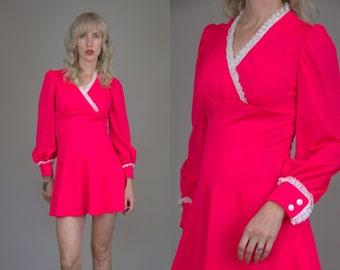 60s Mini Dress Neon Hot Pink Mod Button Sleeve Dolly Dress
