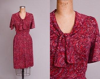 60s Day Dress Magenta Abstract Novelty Print Secretary Dress