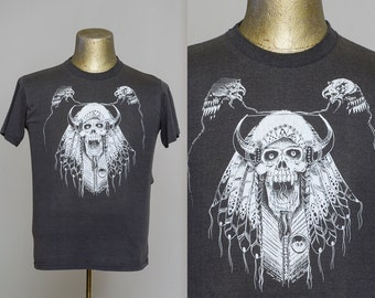 80s Biker Skull Indian Chief 1986 Motorcycle Biker T Shirt
