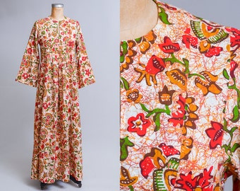70s African Bell Sleeve Tribal Batik Floral Orange / Red Bohemian Babydoll Style Maxi Dress