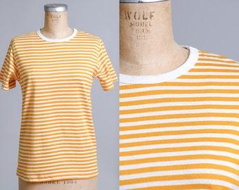 80s Gold Striped Striped Crew Neck Modern Prep T Shirt