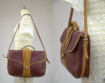 Vintage Dooney & Bourke Briefcase Laptop Bag Rare Burgundy Pebbled Leather Equestrian Hobo Messenger Bag