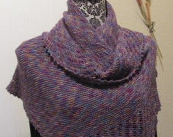 Shawl-wrap, asymmetrical, blue-purple variegated.