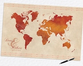 "Wedding Guestbook, Wedding Guestbook Alternative, Orange and Red Wedding, Custom World Map, Sizes up to 42""x70"""