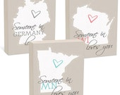 "Valentines Day Gift - Custom State or Country Woodblocks - Ready to Hang - 4 sizes, 5""x7"", 6""x8"", 8""x8"", 12""x12"""