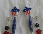 "Patriotic ear rings. ""All hail to the red white and blue"" these ear rings are great for summer holidays and election must have."