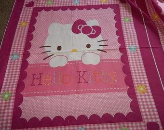 Liscened  Quilt Top HELLO KITTY Hearts and Flowers ..ready to Quilt...Free Shipping