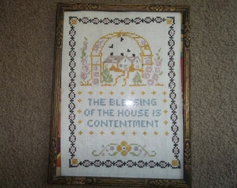 Antique Hand Embroidered Sampler..Linen...Historic...Collectable...1930 ERA
