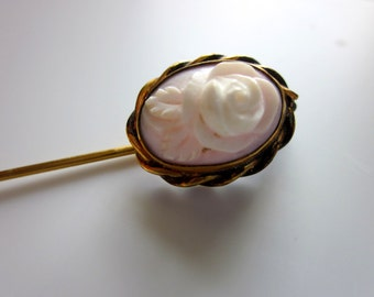 Vintage rose cameo pin brooch stick pin  victorian style