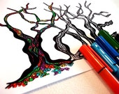 COLOUR-Your-Own notecard, tree design spells LOVE