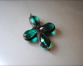 Emerald Green Crystal soldered pendant cross