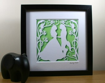 Square Beauty and the Beast Papercut Print