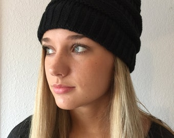Black Knit Beanie Hat
