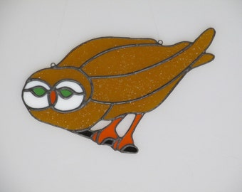 Stained Glass Perched Owl Suncatcher
