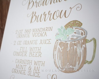 "Signature drink menu, custom ink drawing on 11""14"" white art board, metallic gold silver"