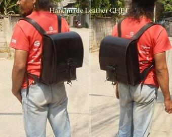 RANDOSERU Japanese style backpack for kids/ women/ men/ made of saddle leather color black B