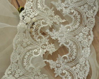 Alencon Lace Trim in ivory, red and white for Bridal, Veils, Wedding Accessories