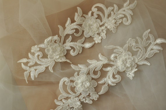 items similar to 3d alencon lace applique pair bridal