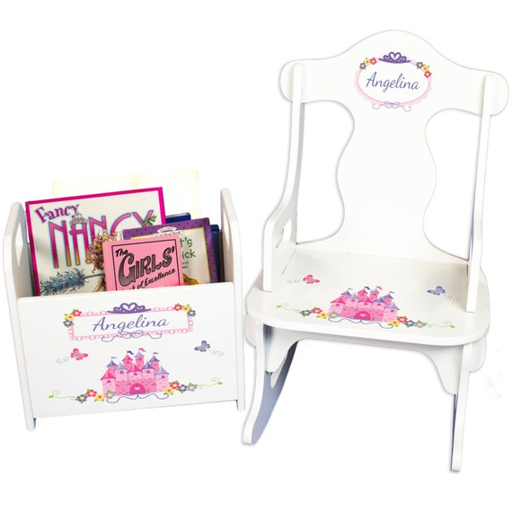 Personalized Princess Rocking Chair & Book Holder- Personalized Baby ...