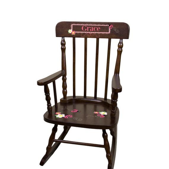 Ladybug Rocking Chair Girls Custom Childs Espresso Cherry Wood Rocker ...