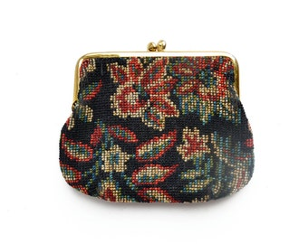 "6"" large change purse or small clutch, floral needle work, vintage bag, from Elizabeth Rosen"