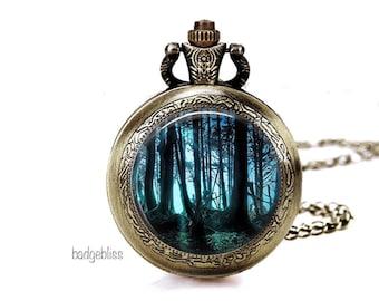 Pocket watch necklace, Dark Forest pocket watch necklace