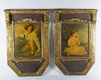 Vintage Gesso Duro Craft Wall Hanging Pair / Old World Decor