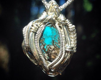 Bisbee turquoise wire wrapped pendant | .925 sterling silver | chain included | handmade by Jon Hixson