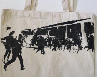 THE CLASH - BAG - Punk Shopper- Brixton Riot London -Police Chaos print -Tote -Shopping Bag for Life - canvas