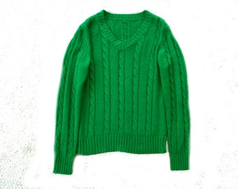 Bright Green Vintage Jumper- Wool Cable knit sweater - V neck knitted longsleeve - bold green - retro -librarian - small size