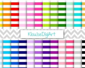 White, Pastel and Rainbow Nautical Horizontal Stripes Printable Digital Paper Pack for Personal and Small Commercial Use (0144)