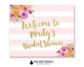 BRIDAL Shower WELCOME SIGN Pink & White Striped Gold Glitter Wedding Bachelorette Party Baby Shower Pink Flowers Priority Shipping- Mady