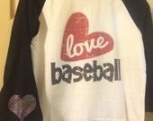 Baseball raglan love baseball mom