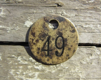 Number Tag Charm Brass Number 49 Tag Small 1 Inch Aged #49 Tag Vintage Tag Industrial Identification Tag Lucky Number House Number Keychain